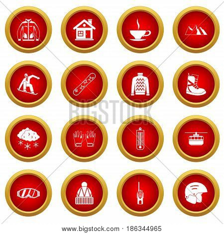 Snowboarding icon red circle set isolated on white background