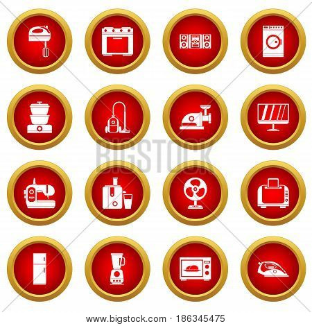 Household appliances icon red circle set isolated on white background