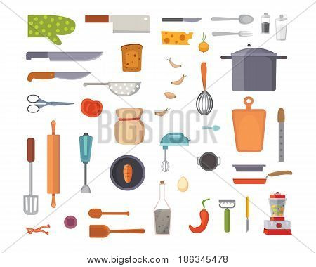 Vector Set Kitchen Utensils. cooking tools flat style. cook equipment isolated objects