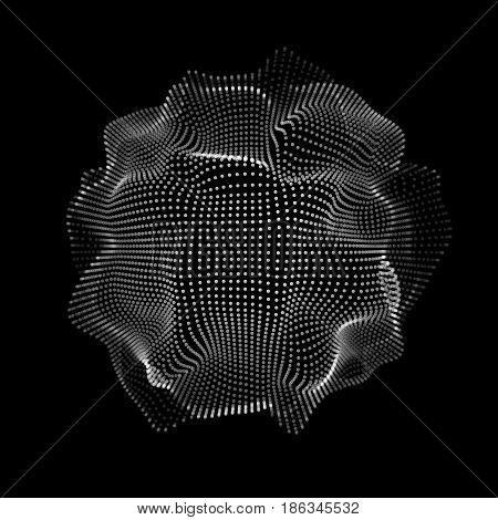 Abstract futuristic space shape, mesh with random, chaos destroyed particles and black background for design concepts, wallpapers, presentations, web, prints. 3D render design. Vector illustration.