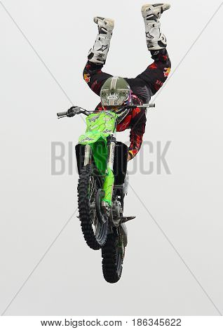 Genoa Italy - May 14 2017: Freestyle Motocross: The stunts of pilots participating in the world championship specialty at Genoa on the seafront
