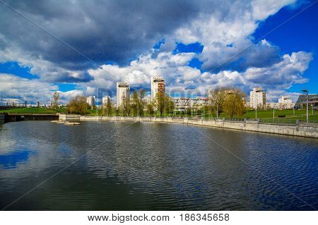 Belarus Minsk panoramic view of the buildings of the architectural complex
