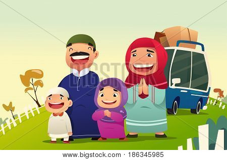A vector illustration of Muslim Family Going Home to Celebrate Eid Al Fitri