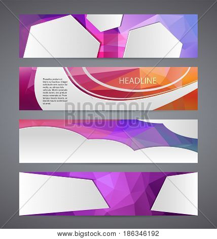 Horizontal Web Banner Triangle Mosaic Background Set Template01