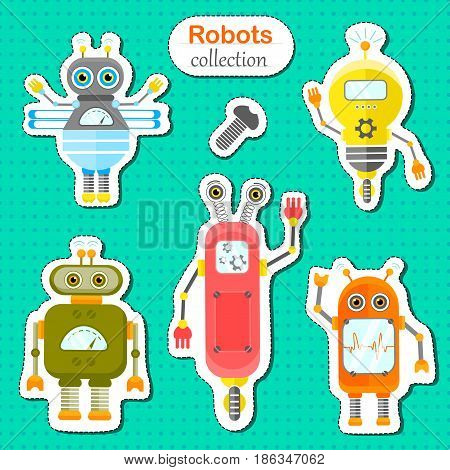 Set of vector robots in cartoon style. Isolated vector robots stickers