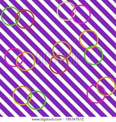 Circle on lilac striped seamless pattern. Fashion graphic background design. Modern stylish abstract texture. Colorful template for prints textiles wrapping wallpaper website. Vector illustration