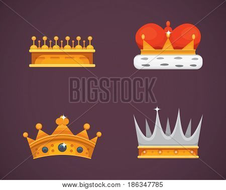 Collection of crown icons awards for winners, champions, leadership. Royal king, queen, princess crowns