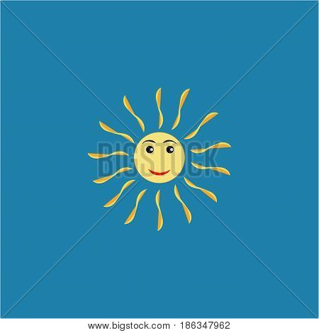 The sun sign on blue background. Yellow solar icon. Bright sunny mark good mood. Isolated logo spring summer. Symbol hot warm sunlight and good weather. Flat vector image. Vector illustration.