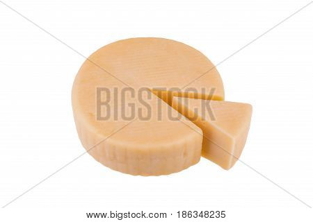 Yellow cheese wheel isolated on white background.