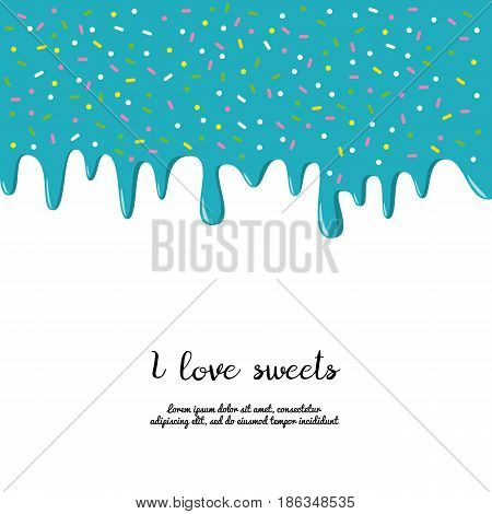 Dripping colorful donut glaze background. Vector illustration.