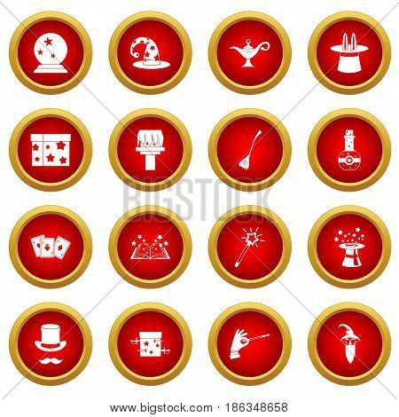 Magic icon red circle set isolated on white background