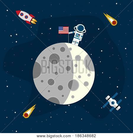 Moon in the background of an open space. An astronaut with an American flag on the surface of the moon. Vector illustration in a flat style