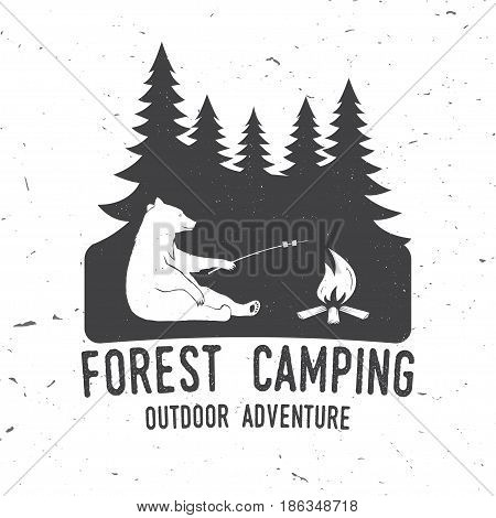 Forest Camping extreme adventure . Vector illustration. Concept for shirt or logo, print, stamp or tee. Vintage typography design with forest, bear and campfire silhouette..