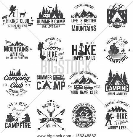 Summer camp with design elements. Vector illustration. Set of extreme adventure badges. Vintage typography design with rv trailer, camping tent, man with guitar and forest silhouette.