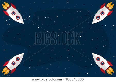 Open space. Template with four rocket for your text. Vector illustration in flat style
