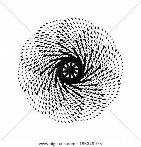 Black abstract fractal, spiral, rotation, repeat reflection shape with white background for logo, design concepts, posters, banners, wallpapers, presentations, web and prints. Vector illustration.