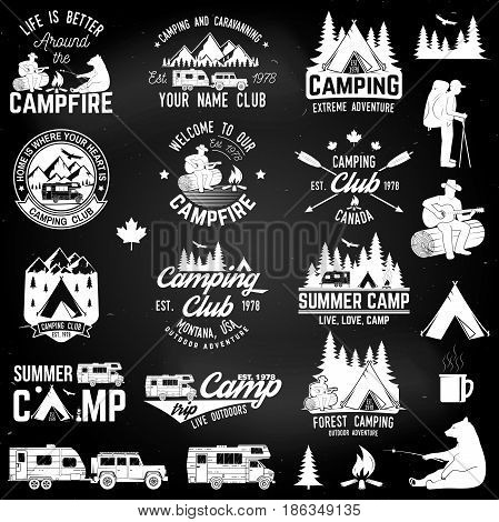 Summer camp with design elements on the chalkboard. Vector illustration. Concept for shirt or logo, print, stamp or tee. Design with rv trailer, camping tent, man with guitar and forest silhouette.
