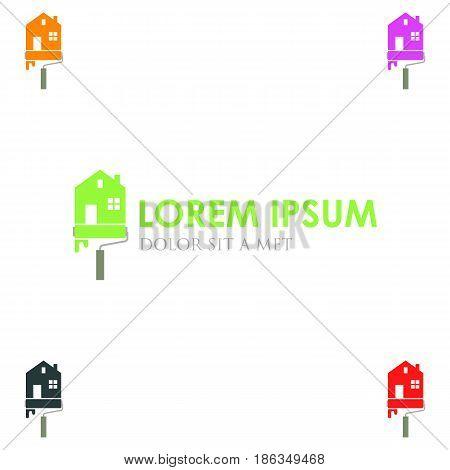 Real estate lowercase flat logo design template. Colorful media icon. Vision Logotype concept idea.