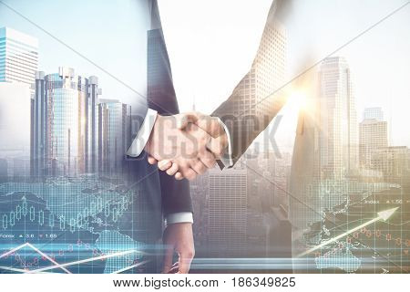 Businessmen shaking hands on abstract city and forex chart background. Partnership concept. Double exposure