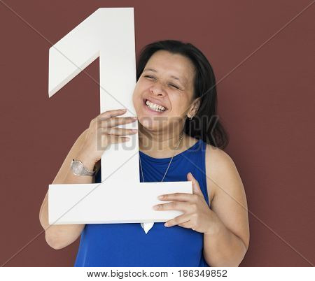 Black Hair Woman Holding One Number Studio Portrait