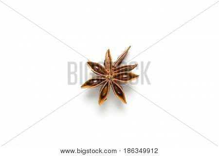 Star anise, isolated on white background close-up