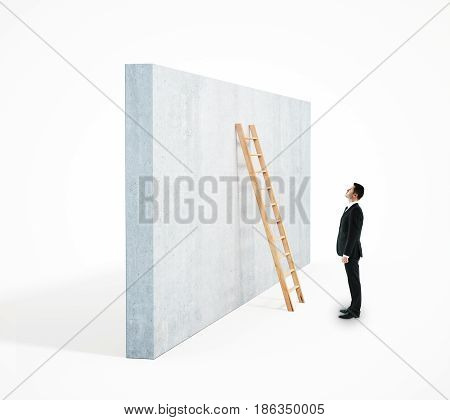 Side view of businessman climbing ladder leaning on concrete wall. White background. Career development concept. 3D Rendering