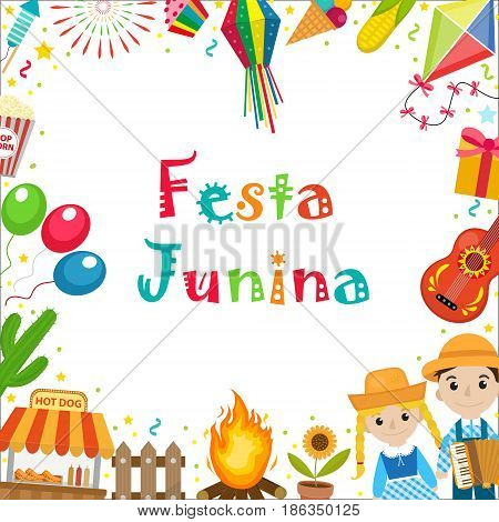 Festa Junina frame with space for text. Brazilian Latin American festival blank template for your design with traditional symbols. Vector illustration
