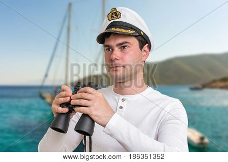 Happy Captain Holding Binoculars