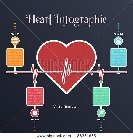 Vector infographic timeline template with heart. Concept on the dark background.