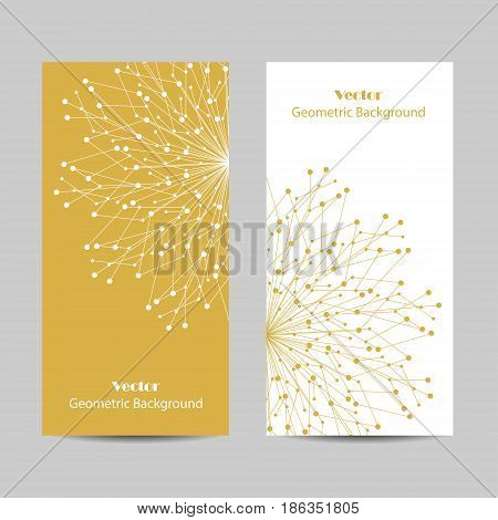 Set of vertical banners. Geometric pattern with connected lines and dots. Vector illustration.