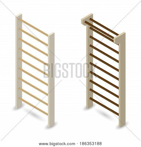 Wooden Swedish wall isolated on white background. Design elements sports equipment. Flat 3d isometric style vector illustration.