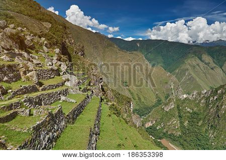 Stone Inca Terraces With Grass