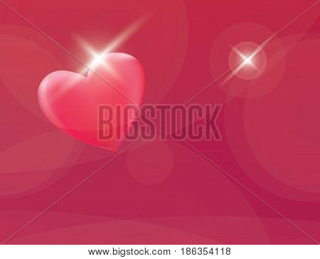 Abstract hearts love symbol red background vector illustration. Glowing sparkle romantic greeting card template.