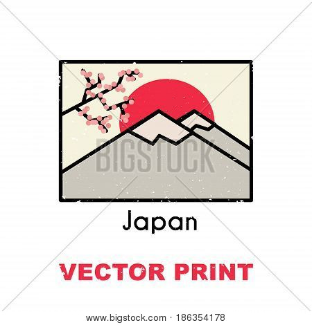 Asian t-shirt print with the sunrise in mountains. Also can be used for a postcard, mug, poster, magnet or another apparel and souvenir products design.Touristic printable concept.Vector illustration.