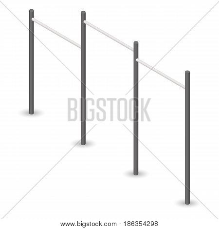 Steel bar for pull-ups isolated on white background. Element of design of sports equipment and playground. 3d isometric style vector illustration.