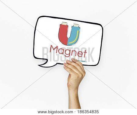 Hand holding banner of horseshoe magnetic field energy illustration