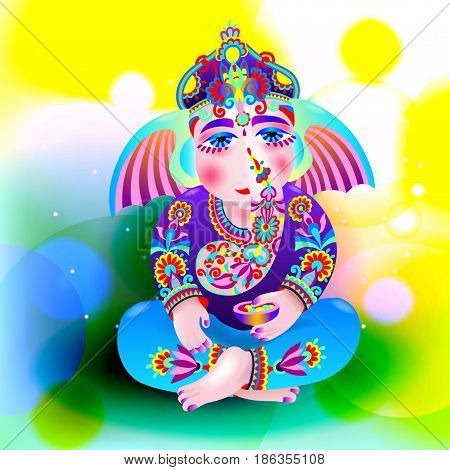vector illustration of Lord Ganesha, indian elephant got for Ganesh Chaturthi holiday on abstract background