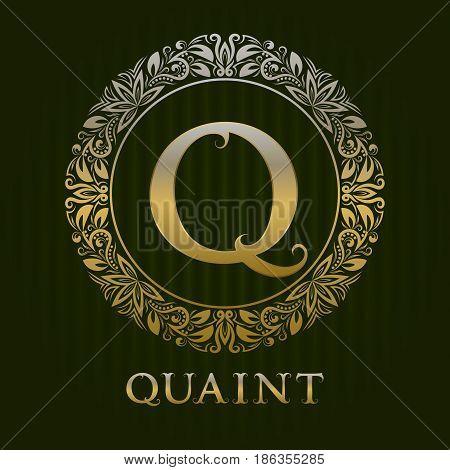 Golden logo template for quaint boutique. Vector monogram.