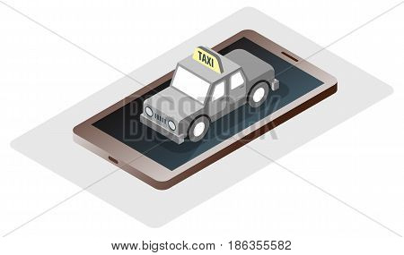 Mobile modern gadget with taxi car urban online travel service concept vector illustration. Automobile trip call transport booking.
