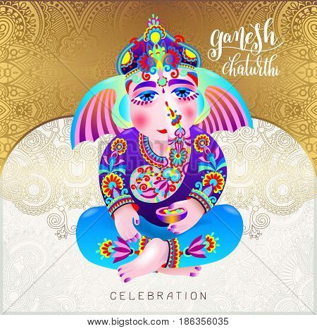 ganesh chaturthi beautiful greeting card or poster for indian festival with lord ganesha and hand lettering on gold floral background, vector illustration
