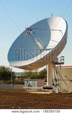 satellite dishe point skyward . TV antenna in communication center