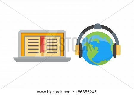 Flat design colorful vector illustration concept for distance education, online learning for web banners and print materials. Isolated on bright background