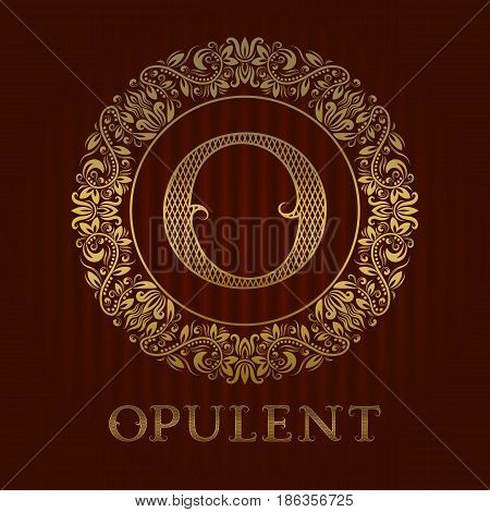 Golden logo template for opulent boutique. Vector monogram.