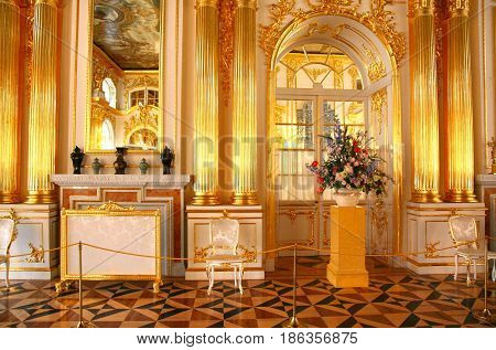 Saint Petersburg, Russia - March 25 ,2017 The interior style of the pavilion in the Catherine Palace at Saint Petersburg, Russia
