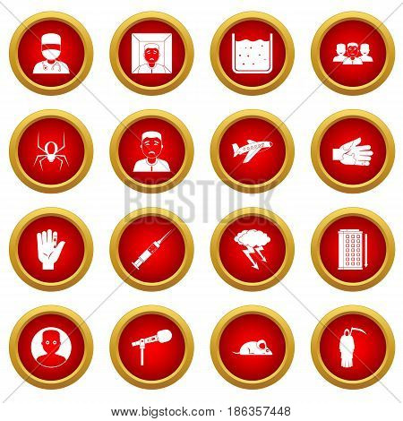 Phobia symbols icon red circle set isolated on white background