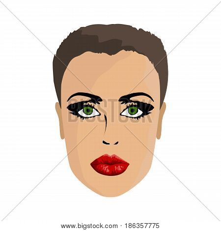 Model woman girl in profile with makeup short hairstyle on white background vector illustration