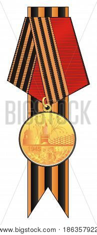 one round golden medal hading on the ribbon