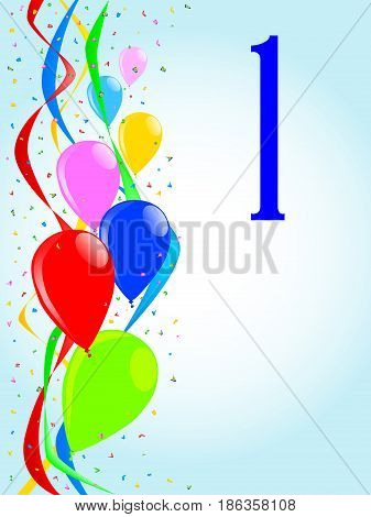 Multi coloured balloons confetti and streamers a party image with the numeral 1