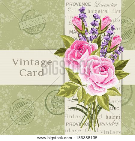 Beautiful flowers for invitation card. Vintage postcard background. Vector illustration.