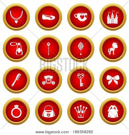 Doll princess items icon red circle set isolated on white background